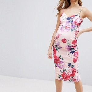 ASOS Maternity Pink Garden Floral Cocktail Dress